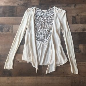 Knitted & Knotted Open Linen Blend Lace Cardigan S